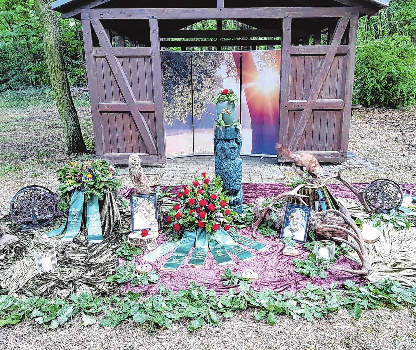 Beispiel für eine Dekoration für eine Bestattung im Ruheforst Foto: Bestattungshaus Geller