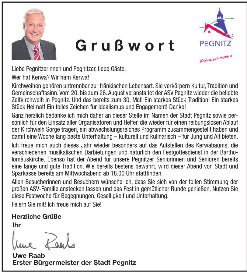 Uwe Raab,  Erster Bürgermeister der Stadt Pegnitz