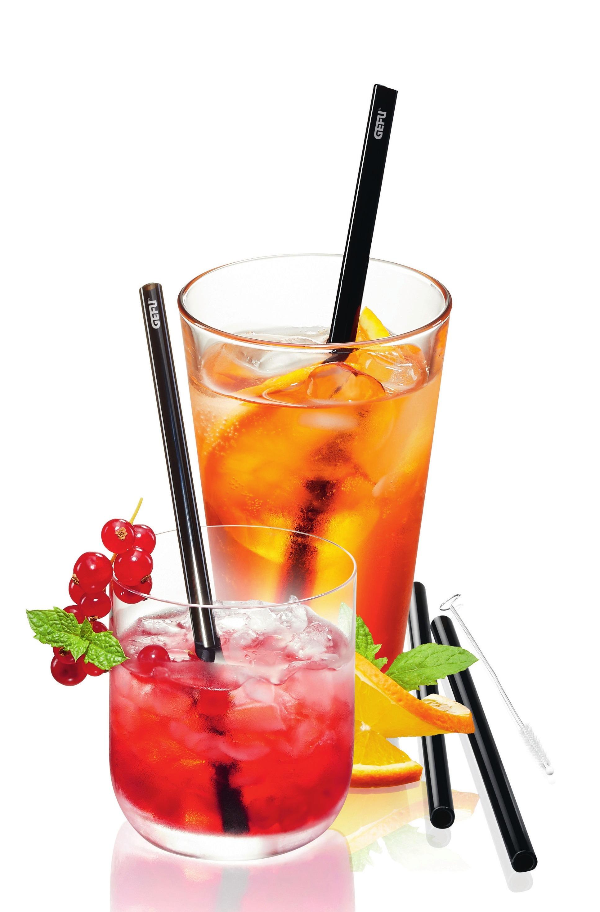 Trinkhalme aus Glas als Alternative zu Plastik (Gefu).
