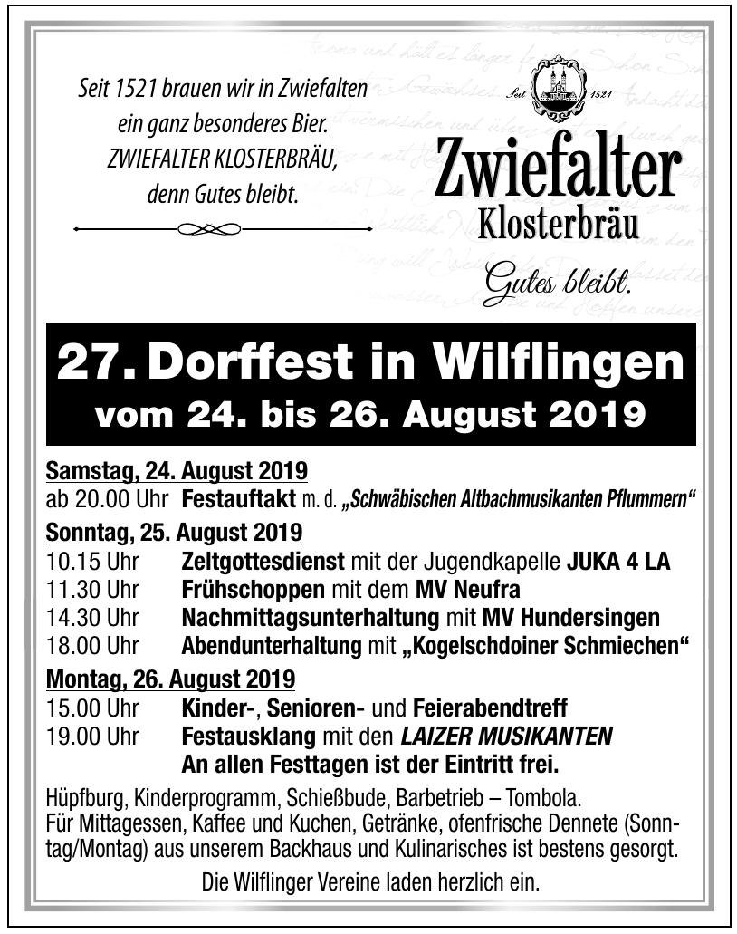 27. Dorffest in Wilflingen