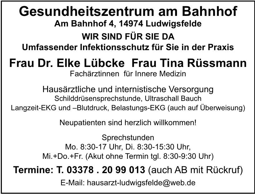 Frau Dr. Elke Lübcke Frau Tina Rüssmann