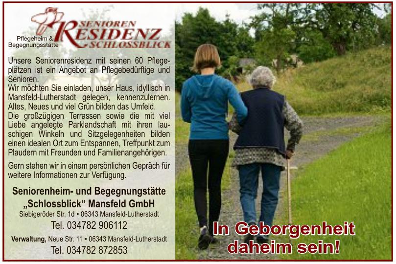 """Seniorenheim- und Begegnungstätte """"Schlossblick"""" Mansfeld GmbH"""