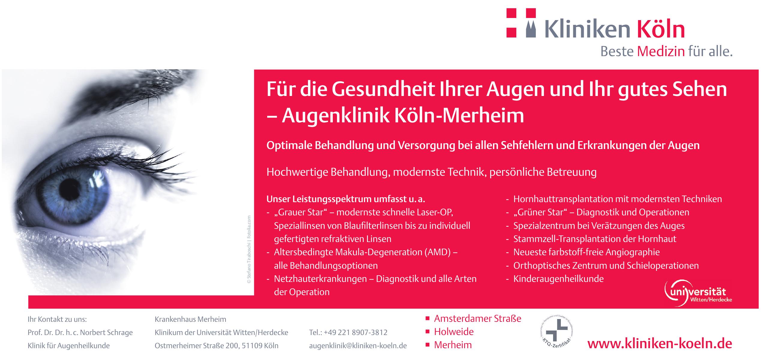 Prof. Dr. Dr. h.c. Norbert Schrage - Klinik für Augenheilkunde - Krankenhaus Merheim - Klinikum der Universität Witten/Herdecke