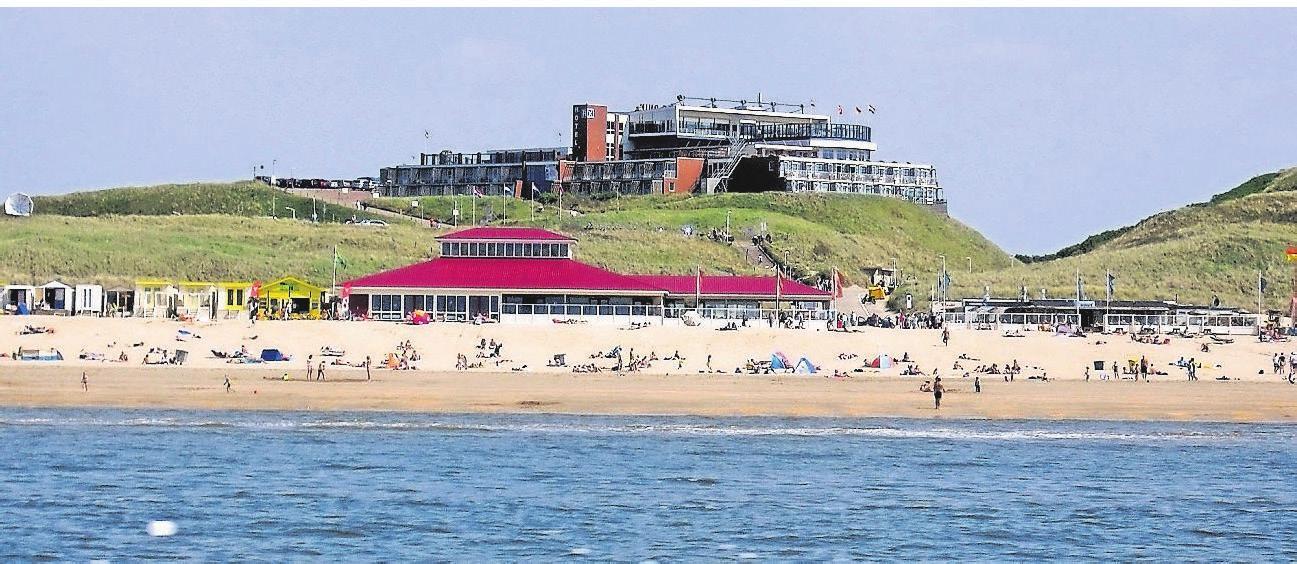 Vom Hotel aus überblicken Gäste den gesamten Strand und die Dünenlandschaft. Foto: Strandhotel Hoge Duin