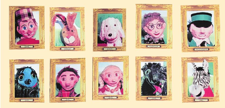 Das sind einige der Puppenstars, die beim Kasperle-Spiel viele Abenteuer erleben.