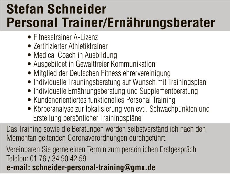 Stefan Schneider Personal Trainer/Ernährungsberater