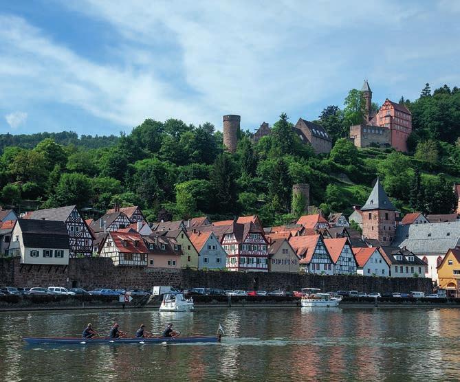 Das Schloss Hirschhorn thront über der Stadt und dem Neckar.