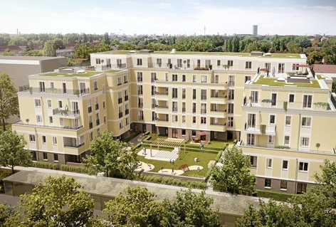 """Platz statt Lage: Auf der Suche nach größeren Wohnungen wählen Kaufinteressenten gern weniger zentrale Lagen, wie beim Projekt """"Wohnen am Plänterwald"""". Foto: Verimag"""
