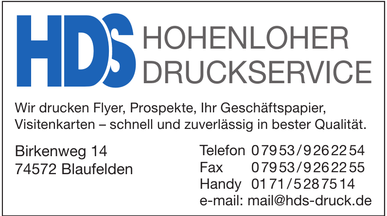 HDS Hohenloher Druckservice