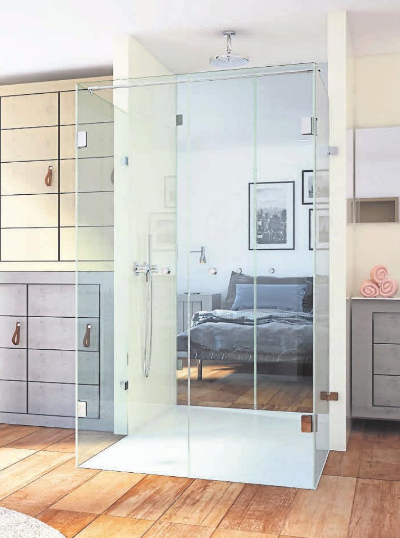 Der zweiseitige Zugang zur Duschkabine dient als Verbindung von Bad und Schlafzimmer. Foto: Glassdouche GmbH