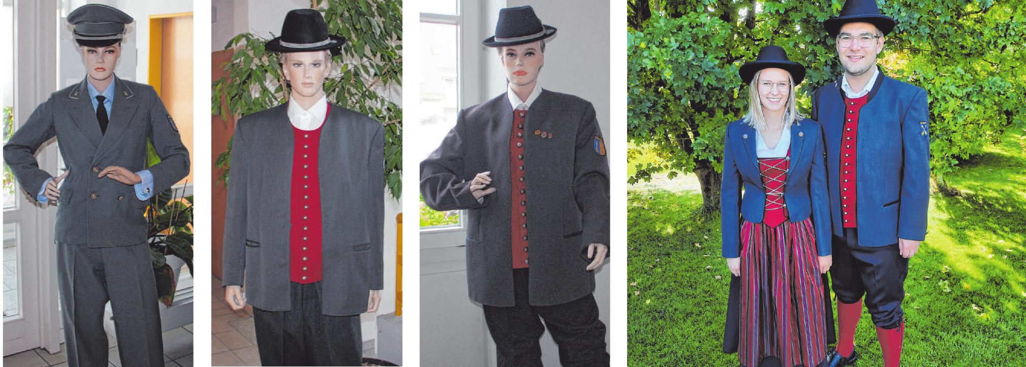 Die Uniformen des Musikvereins von 1958, 1968, 1971 und 2021. Nachdem 50 Jahre die selbe Uniform zum Einsatz kam, wurde diese nun modernisiert. Dazu bekamen die Musikerinnen ein Dirndl. FOTOS: NIKO ESCHWEILER, KARL LAMP