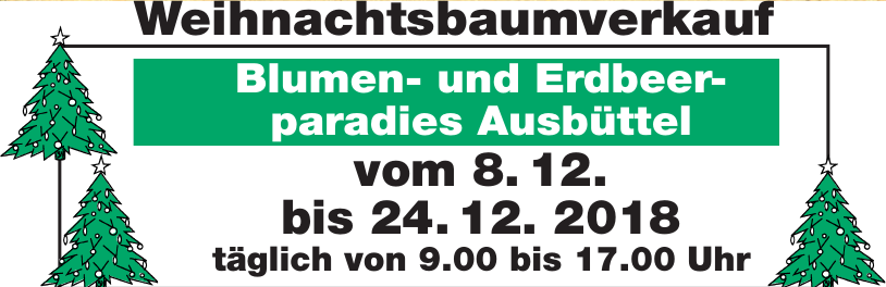 Weihnachtsbaumverkauf - Blumen- und Erdbeerparadies Ausbüttel