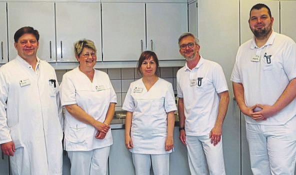 Das Team des Interdisziplinären Wundzentrums am MVZ: Dr. Thomas Wild, Ines Büchner, Nicole Schulschenk, Nico Richter und Sebastian Max.