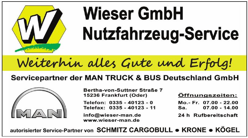 Wieser GmbH Nutzfahrzeug-Service Servicepartner der Man Truck & Bus Deutschland GmbH