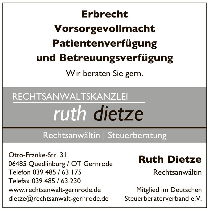 Ruth Dietze Rechtsanwältin Mitglied im Deutschen Steuerberaterverband e.V.