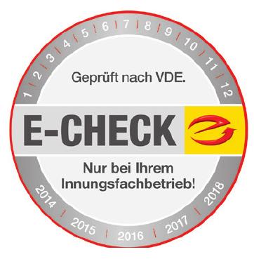 Mit dem E-Check-Siegel der Innungsbetriebe auf den Geräten ist man auf der sicheren Seite