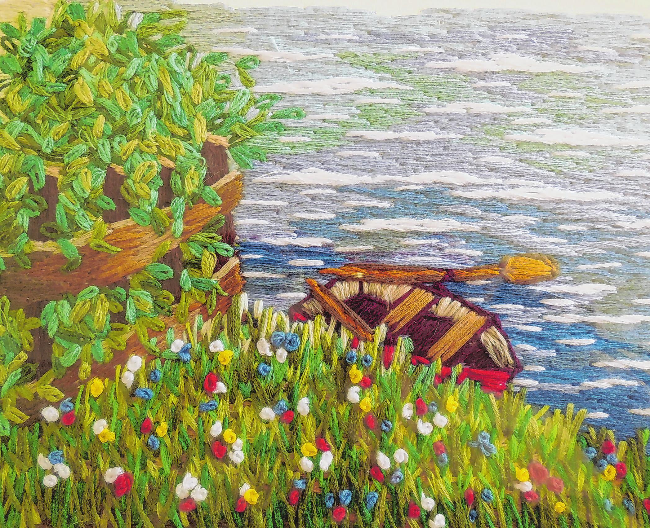 Stickbilder wie dieses sowie Malerei und Zeichnungen von Dana Schröder sind in der HofgalerieM in Pillgram zu sehen. Foto: Monika Schüller