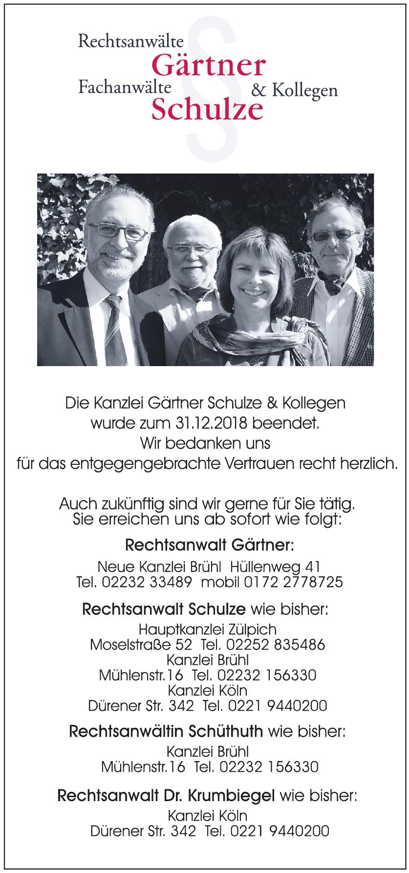 Rechtsanwälte Gärtner, Fachanwälte Schulze und Kollegen