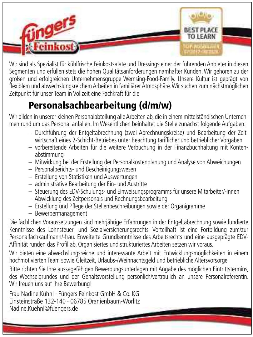Frau Nadine Kühnl · Füngers Feinkost GmbH & Co. KG