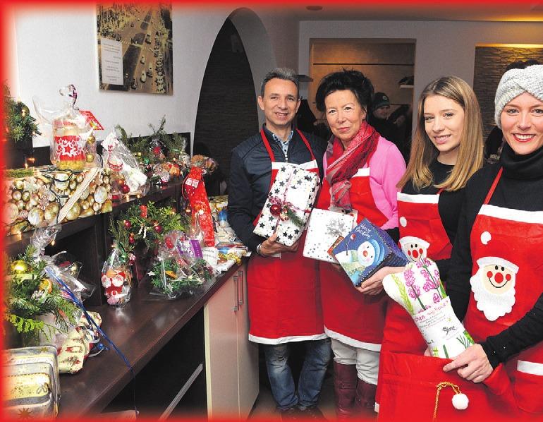 Sammelten Weihnachtsgeschenke für Alleinstehende: Djuliano Saliovski, Erika Teuer, Saranda und Myrjam Saliovski (von links).