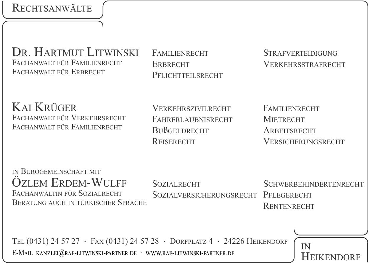 Rechtsanwälte Dr. Hartmut Litwinski, Kai Krüger, Özlem Erdem-Wulff