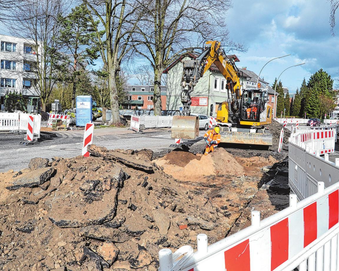 Die Bauarbeiten am Straßenbelag sind im vollem Gange