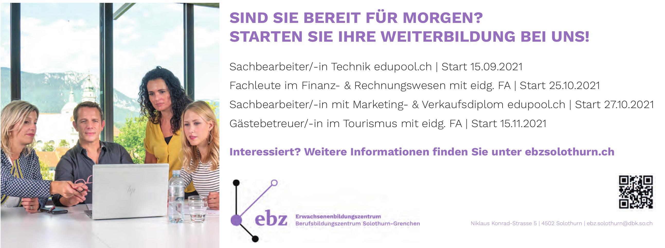 ebz Erwachsenenbildungszentrum Berufsbildungszentrum Solothurn-Grenchen