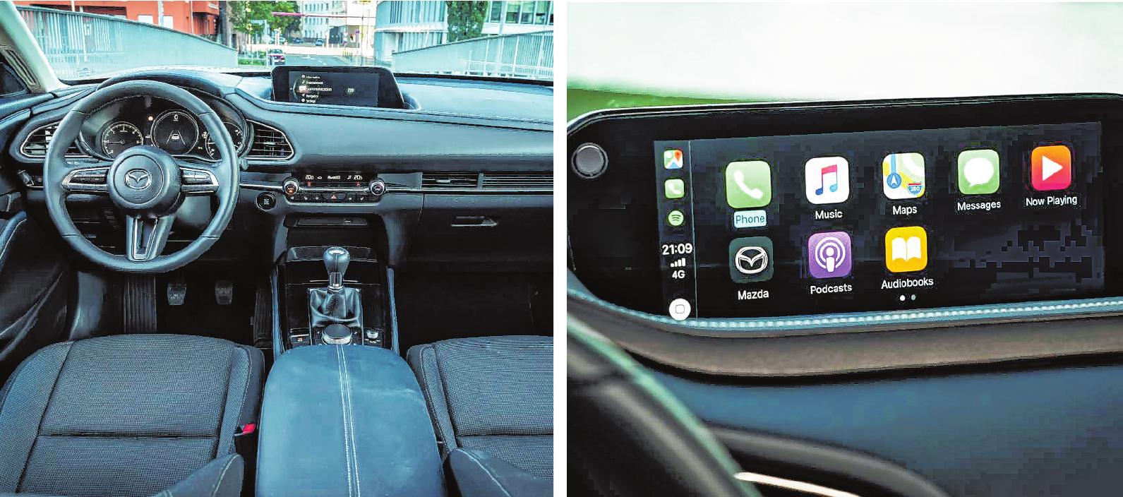 """Ein komfortables Interieur, das dem Fahrer und den weiteren Fahrgästen auf Kurz- und Langstrecken eine angenehme Reise ermöglicht. Das Konnektivitätssystem """"Mazda Connect"""" bietet einfache Bedienung und die Einbindung des Smartphones per USB-Anschluss. BILDER: MAZDA"""