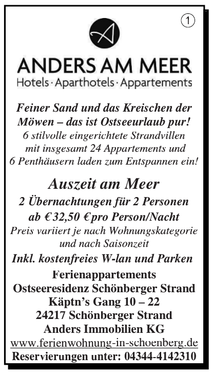Ferienappartements Ostseeresidenz Schönberger Strand - Anders Immobilien KG