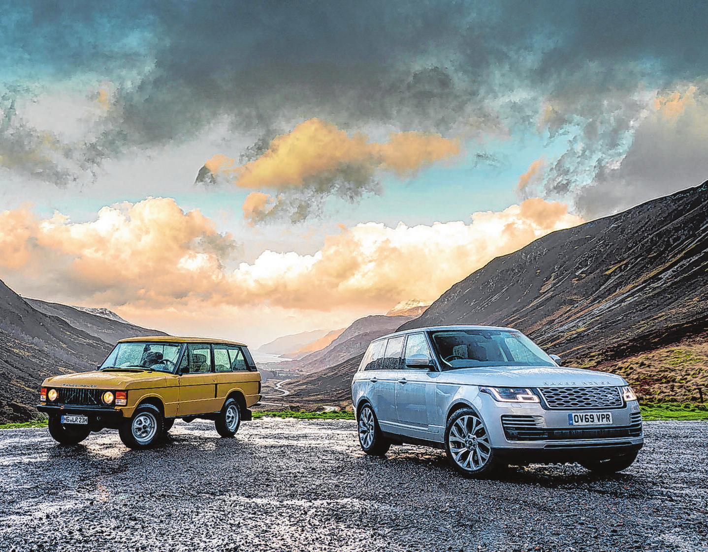 Ein Klassiker mit seinem aktuellen Nachfolger: Auf den Range Rover Serie 1 (links) folgten bisher drei weitere Generationen. Foto: Craig Pusey/dpa-mag