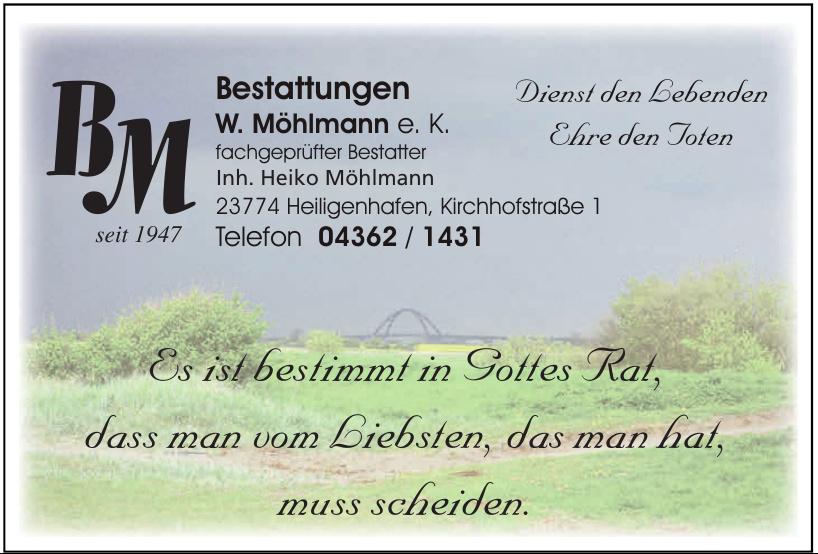 Bestattungen W. Möhlmann e.K. Nachf. Heiko Möhlmann
