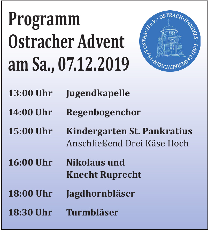 Programm Ostracher Advent