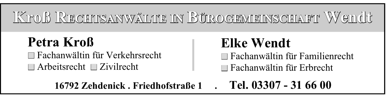 Kroß Rechtsanwälte in Bürogemeinschaft Wendt - Petra Kroß