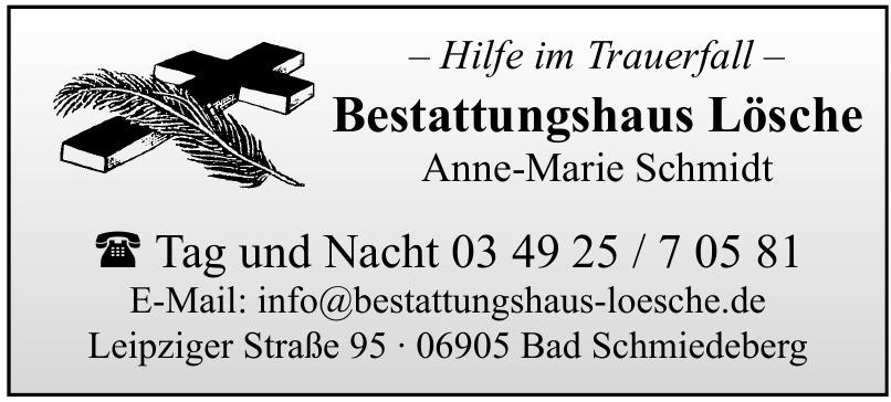 Bestattungshaus Lösche Anne-Marie Schmidt