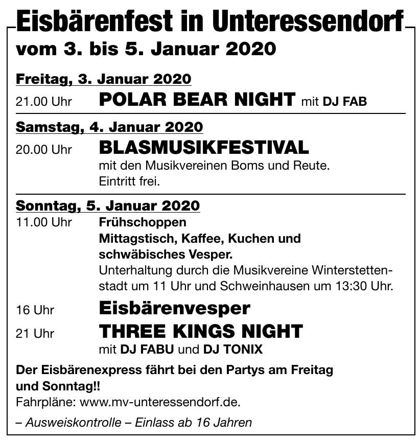 Eisbärenfest in Unteressendorf