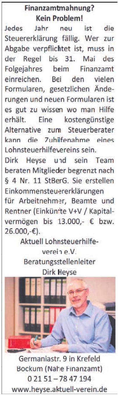 Dirk Heyse Beratungsstellenleiter - Aktuell Lohnsteuerhilfeverein e.V.