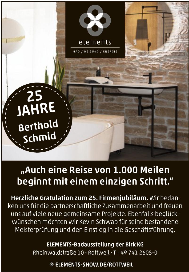 ELEMENTS-Badausstellung der Birk KG