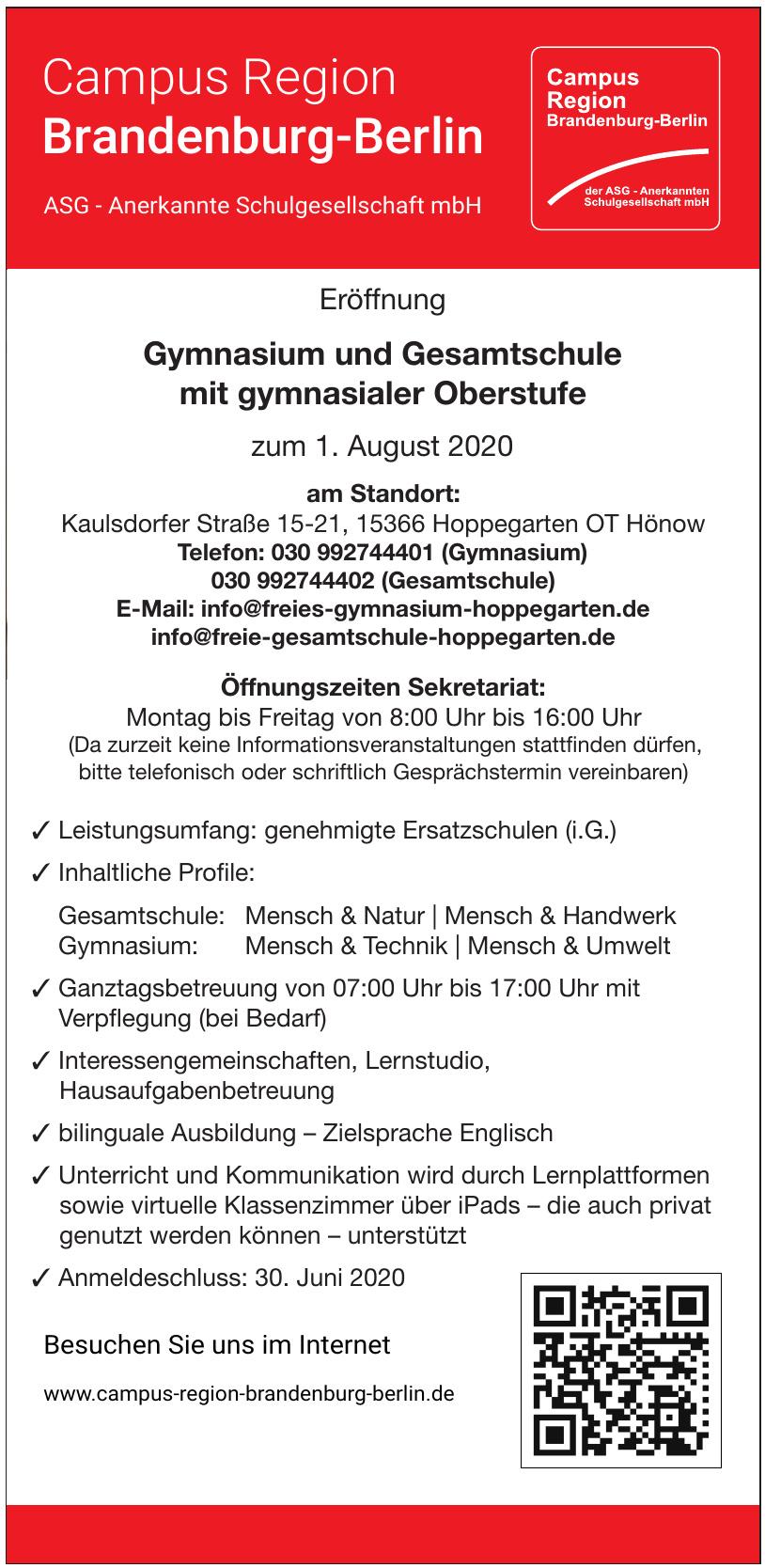 Campus Region Brandenburg-Berlin - Gymnasium und Gesamtschule mit gymnasialer Oberstufe