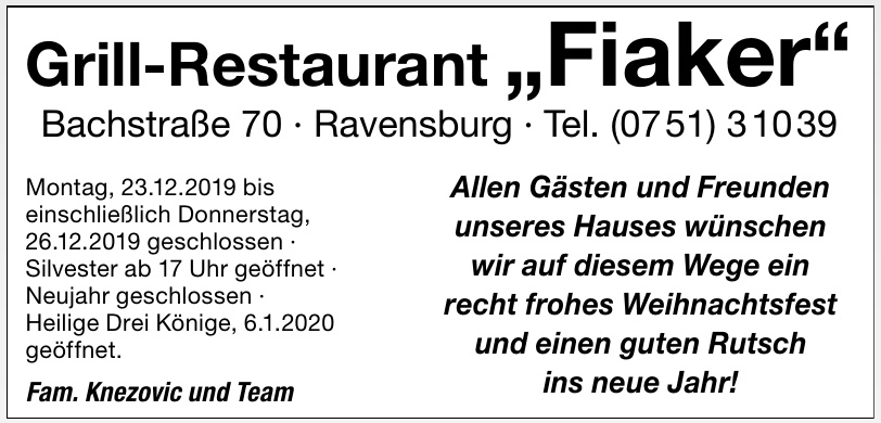 "Grill-Restaurant ""Fiaker"""