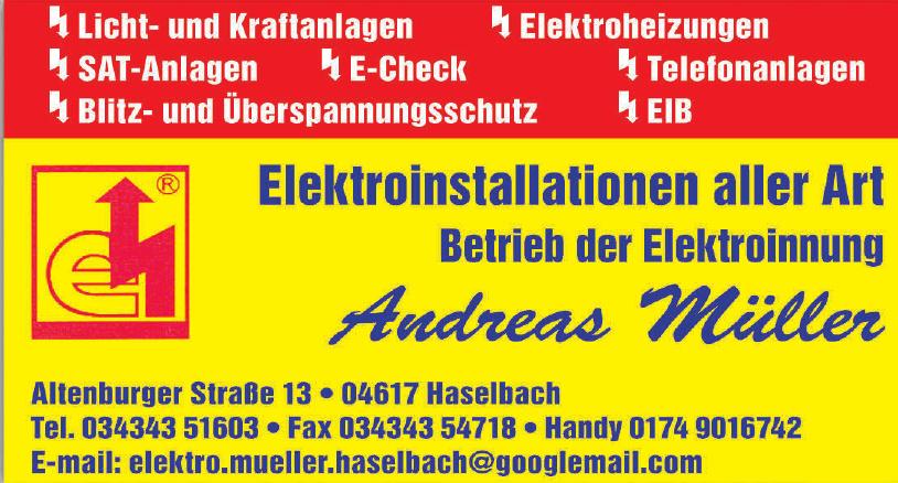 Elektroinstallationen  Andreas Müller