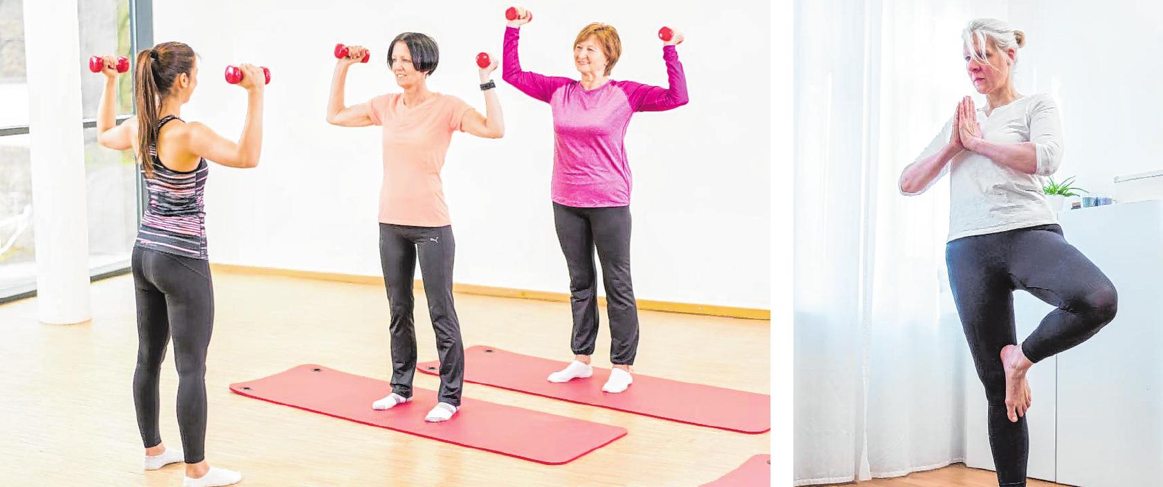 Auch ältere Menschen können von Krafttraining profitieren. In Kursen kann man die richtige Ausführung lernen und sich Übungen abschauen. Yoga eignet sich grundsätzlich auch für ältere Menschen. Neben der physischen Beanspruchung wird der Geist beruhigt. BILDER: DPA