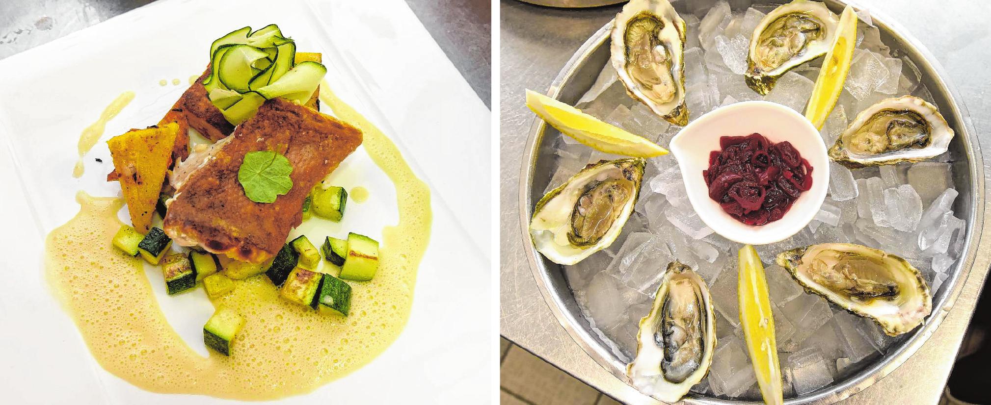 Die Meerestiere, die im R7 Fisch & More verarbeitet werden, kommen auf kürzesten Wegen ins Restaurant. Angerichtet werden die fertigen Gerichte mit viel Kreativität und Liebe. Bilder (4): Tröster