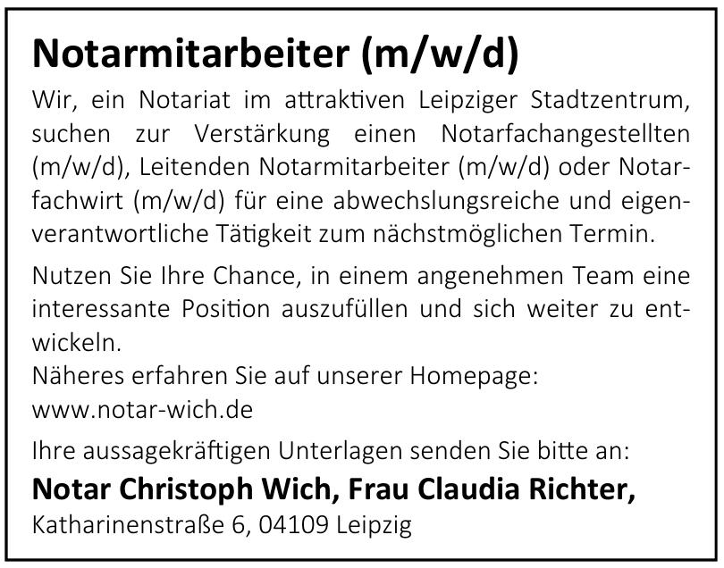 Notar Christoph Wich, Frau Claudia Richter