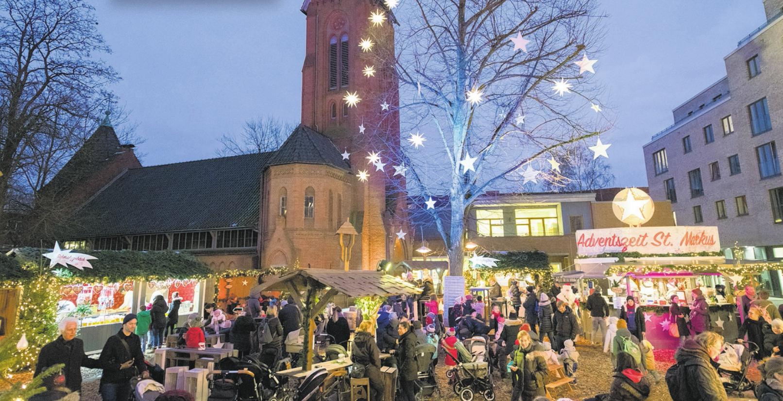 """Besonders stimmungsvoll: der Weihnachtsmarkt """"Adventszeit St. Markus"""" Fotos: bergmann-guppe.net"""