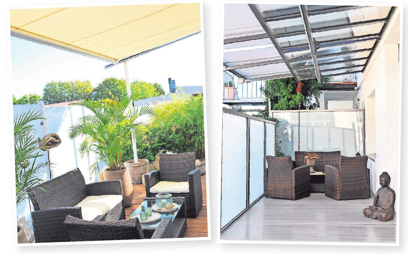 Robering bietet jede Form von Markisen (Bild links). Glasdachsysteme bieten Schutz vor Regen und verwandeln jede Terrasse in eine Wohlfühloase (Bild rechts).