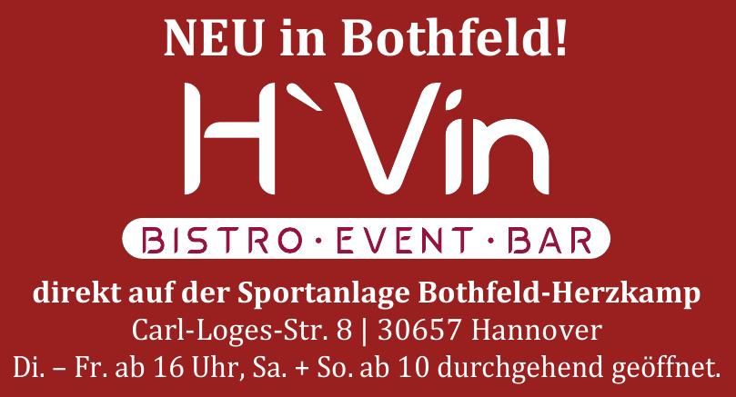 H'Vin Bistro, Bar und Events