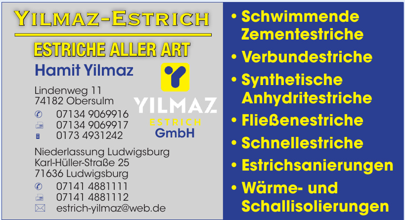 Yilmaz-Estrich Estriche Aller Art Hamit Yilmaz
