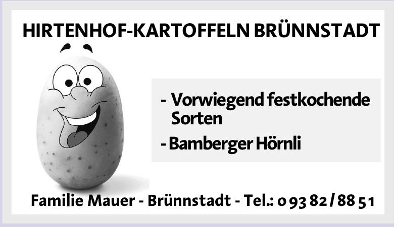 Hintenhof-Kartoffeln Brünnstadt - Familie Mauer