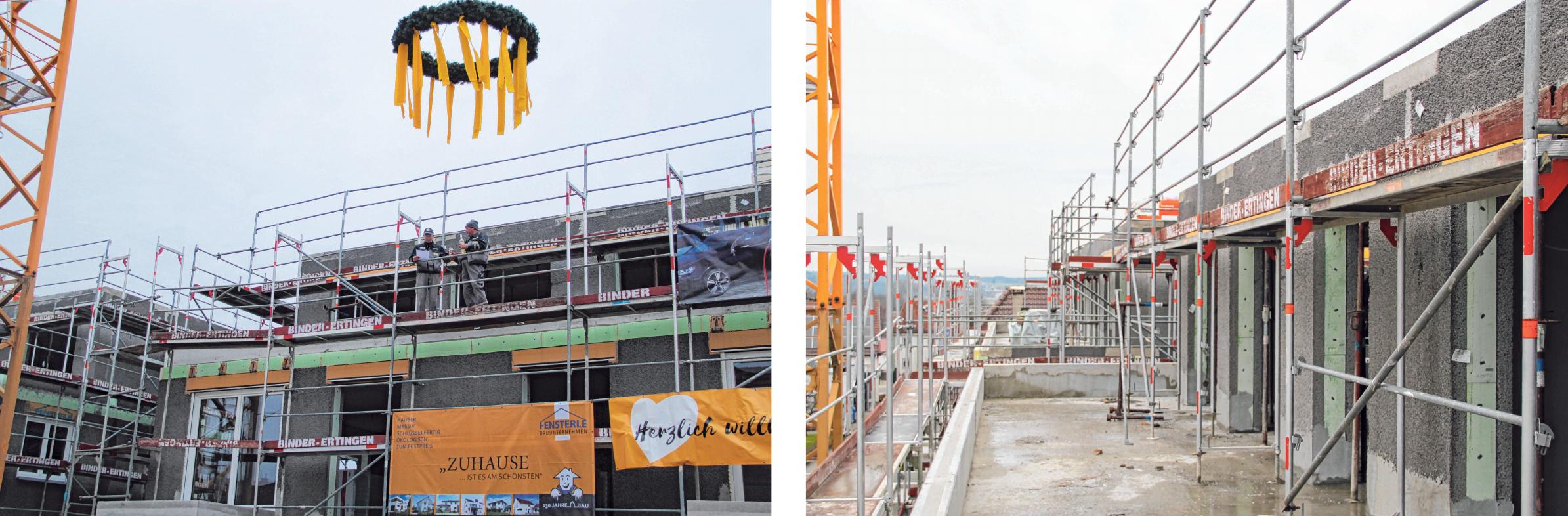 Das Richtfest wurde in der vergangenen Woche gefeiert. In südlicher Ausrichtung ist von den oberen Wohnungen der Blick ins Donautal möglich. FOTOS: MICHAEL MADER