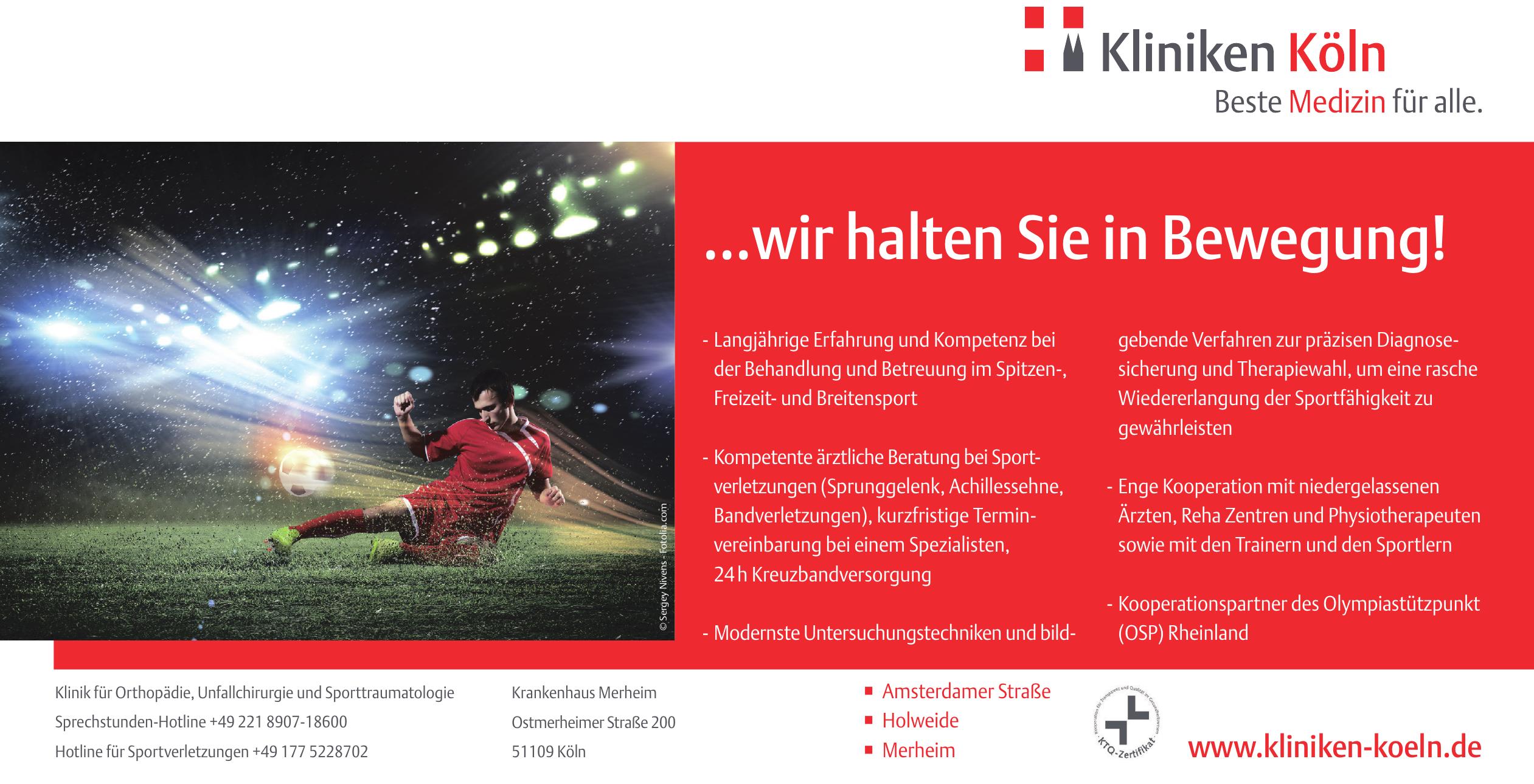 Klinik für Orthopädie, Unfallchirurgie und Sporttraumatologie Köln
